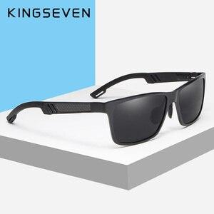 Image 3 - Kingseven真新しい偏光サングラス男性ユニセックスメタルフレーム運転メガネ女性レトロなサングラスgafas