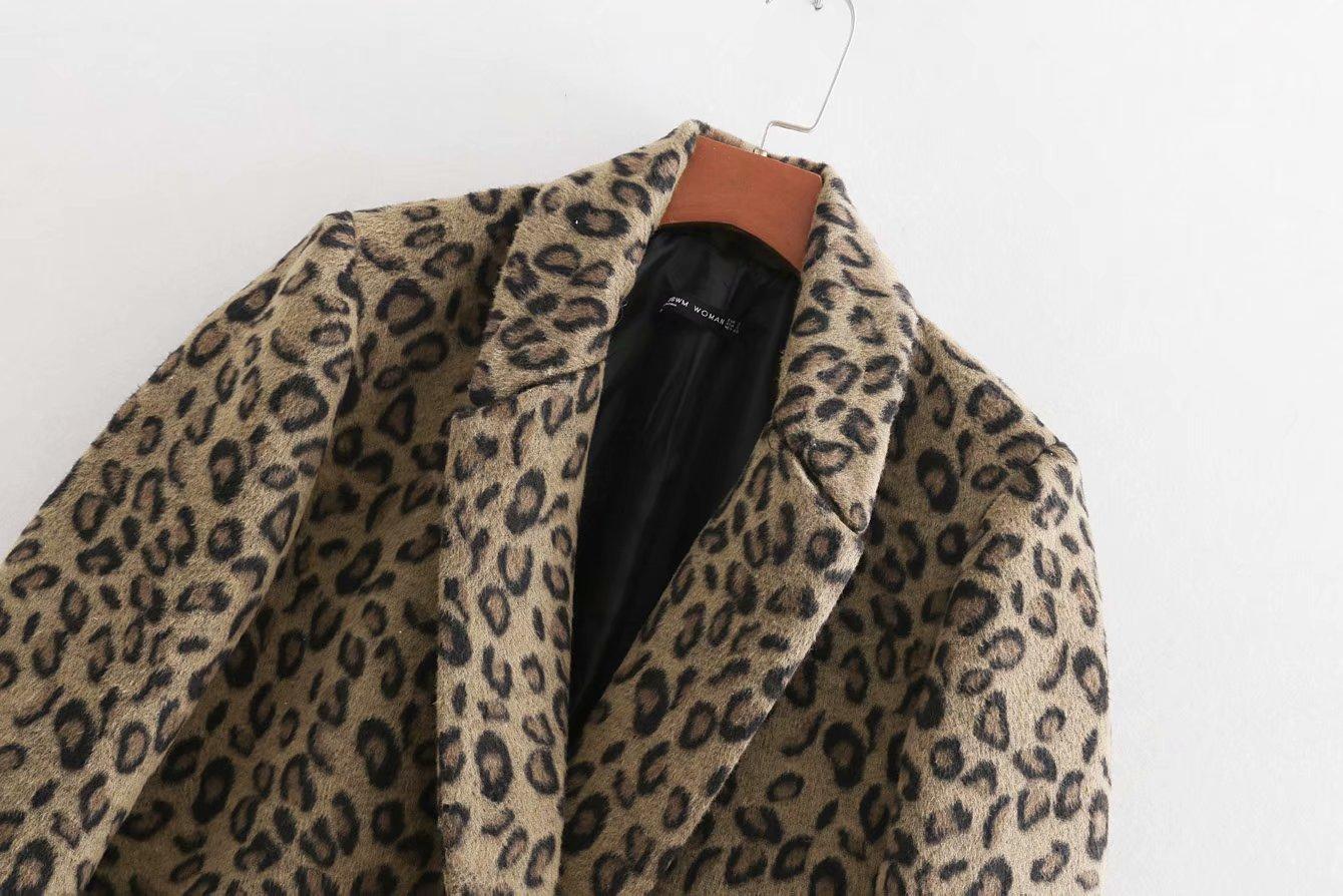 Top Femmes Long Casual Manches Longues Mode Veste Sauvage Léopard Double 1 Manteau Mince Jacquard De Breasted SMzGpUqV