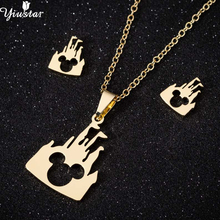 Yiustar Stainless Steel Jewelry Sets Mickey Necklaces Pendants Women Girls Everyday Fashion Castle Mouse Gold Necklace