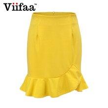 Viifaa mujeres amarillo Sexy Falda corta verano 2018 Bodycon Oficina faldas  mujeres Ruffle Mini falda asimétrica 621077cfbe1b