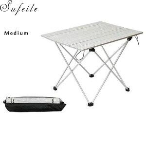 Image 2 - SUFEILE 屋外キャンプポータブル折りたたみテーブルアルミ超軽量ポータブルコンピュータデスクバーベキュー振り子レジャーテーブル D50