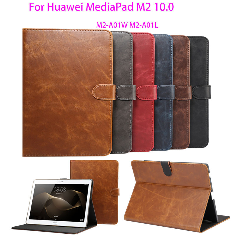 где купить Smart protective Leather Cover Case For Huawei MediaPad M2 10.0 M2-A01W M2-A01L 10.1 inch tablet case Luxury Crazy Horse pattern по лучшей цене
