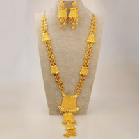 Anniyo New Ethiopian Bride Jewelry Set Gold Color & Copper Arab Dubai Necklace Earrings African Nigeria Party Gifts #100912