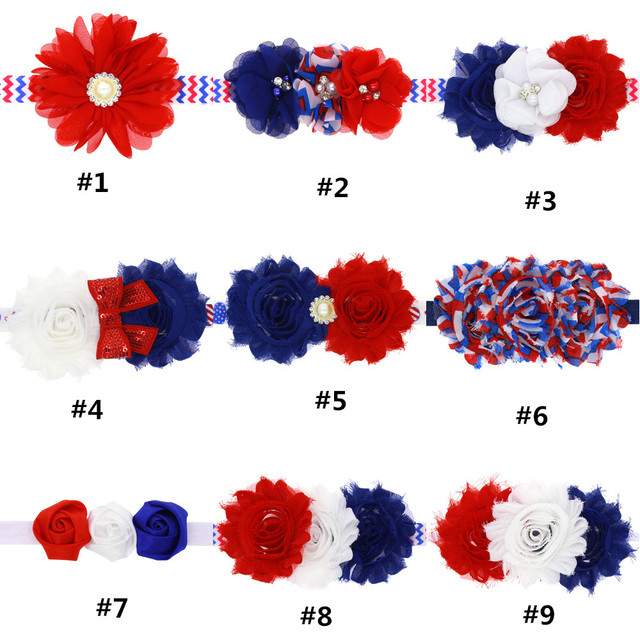 10pcslot shabby chiffon flower with elastic red white blue 10pcslot shabby chiffon flower with elastic red white blue color mightylinksfo