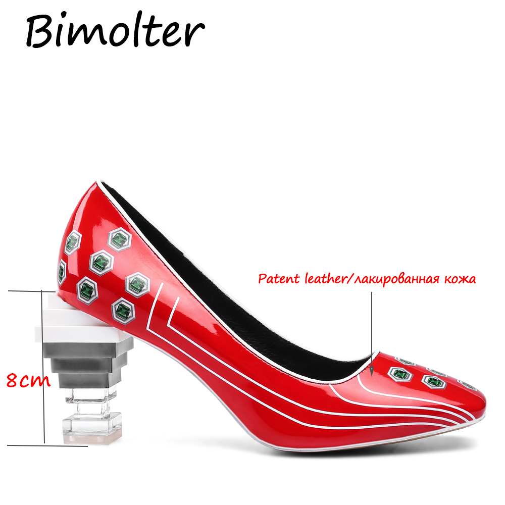 Bimolter Women Pumps Strange Crystal High Heel Shoes Real Patent Leather 3D Print Brand New Designer Novelty Party Shoe FB053 in Women 39 s Pumps from Shoes
