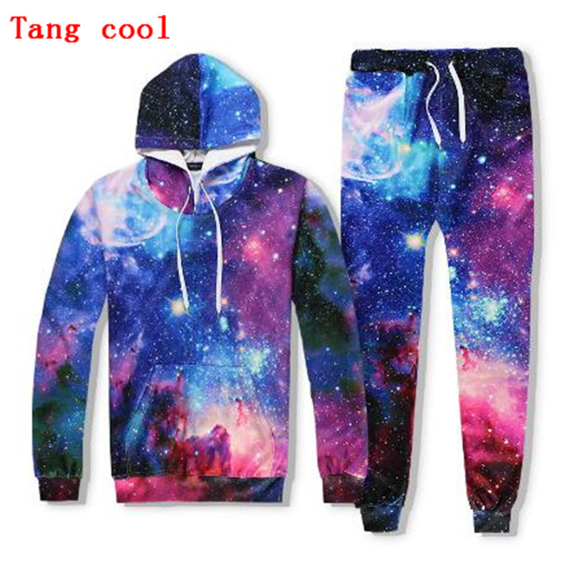 Fashion 3D digital printing space star Hoodie + trousers suit 2018 spring and autumn couple track and field suit