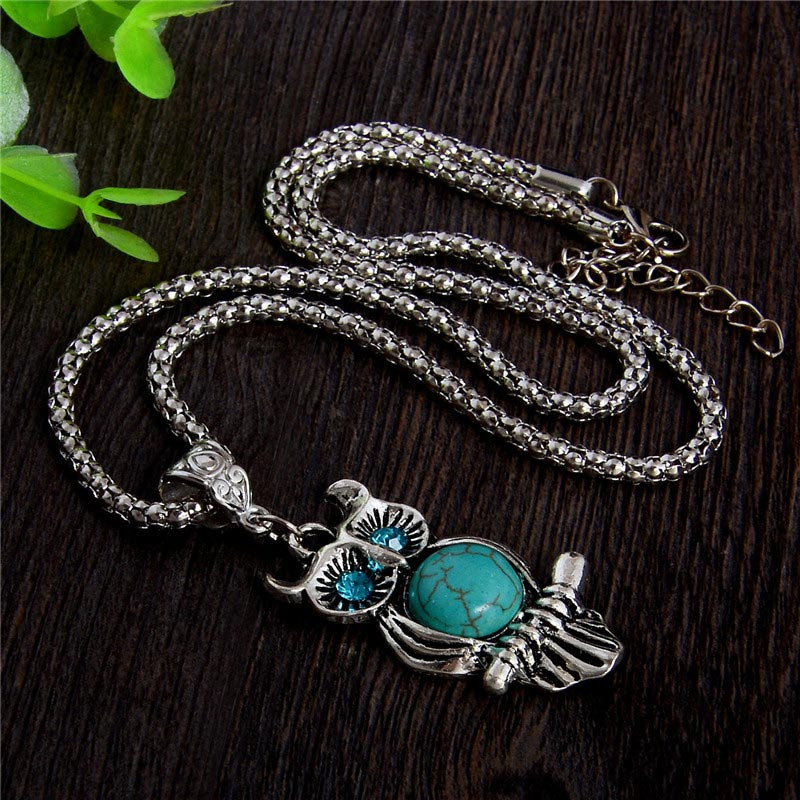 HTB1SNcDJVXXXXbBXXXXq6xXFXXXm - SHUANGR High quality natural stone blue eyes owl necklace pendant silver color necklace vintage jewelry for wowen collier