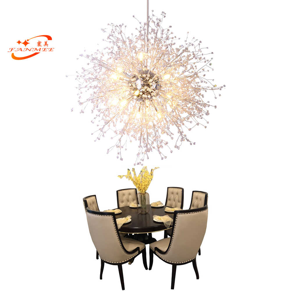 Modern Acrylic Crystal Chandelier Light Globe Pendant Hanging Lamp Dandelion LED Chandelier Lighting for Living Dining Room