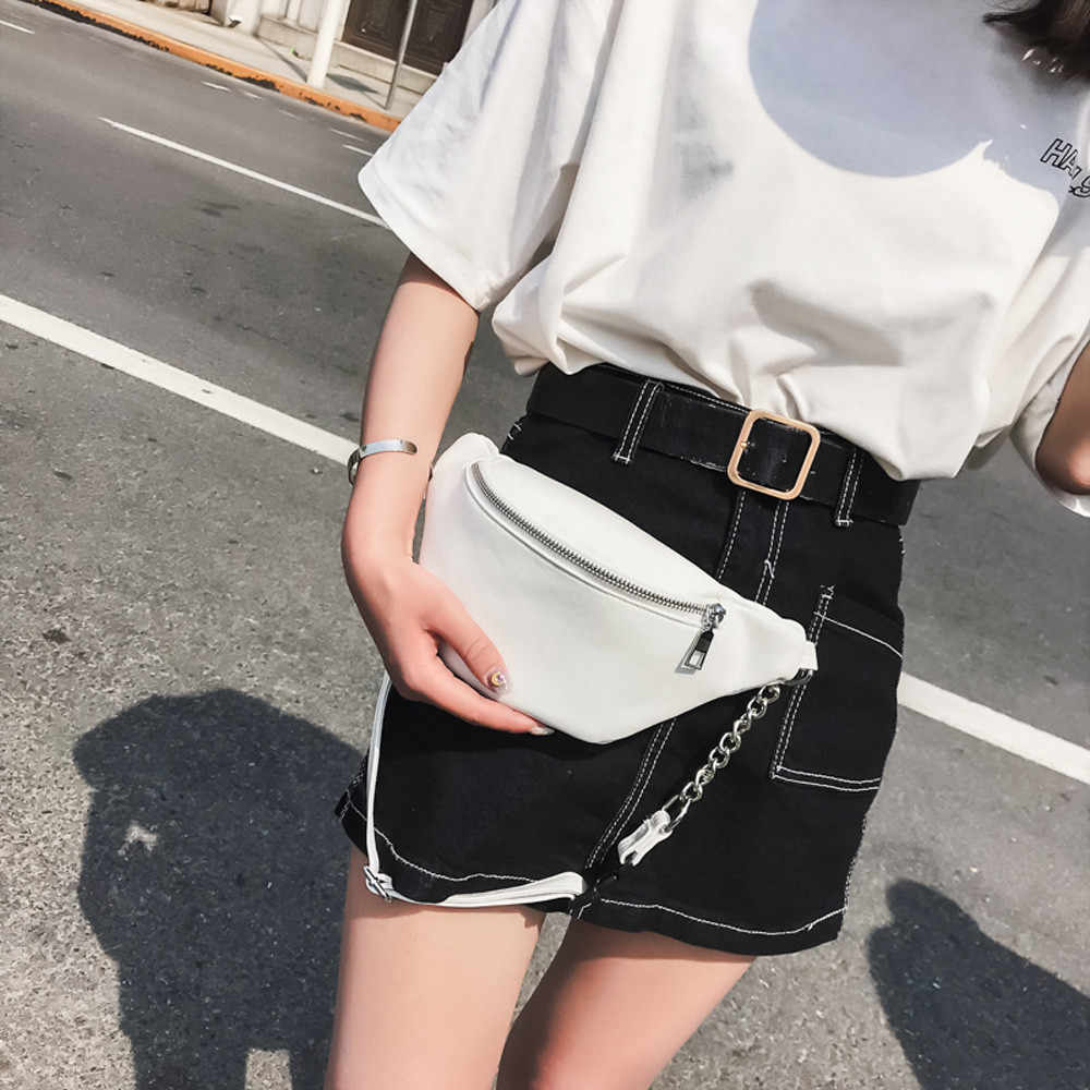 Frauen Taille Packs Tasche Damen Kette Leder Brust Taschen Fanny Einstellen Gürtel Hip Pack Taschen Weibliche Design Mini Taille Taschen pack #20
