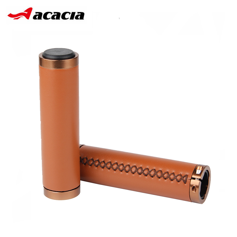 ACACIA New Cycling Grips Retro Handmade PU Leather Bicycle Handlebar Grips Soft Durable MTB Mountain Road Bike Handle Grips велосипедная корзина acacia mtb 5 5 bl bag acacia