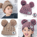 2 Year Old Hat Toddler Hood Strip Baby Children Snow Caps Dual Ball Children Hats Winter Gorros Crochet Hooded Cowl Warm Knitted