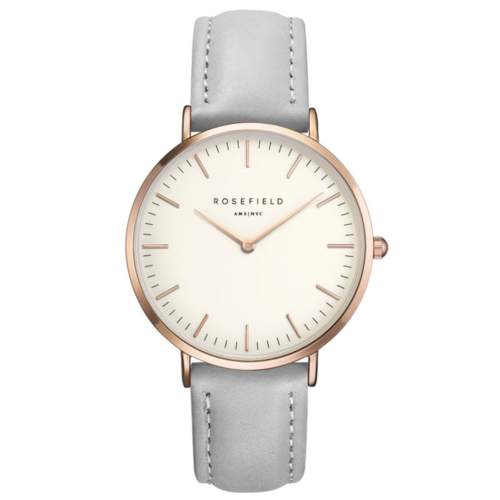 Ladies Ultra-Thin Watch - rose gold - grey leather strap