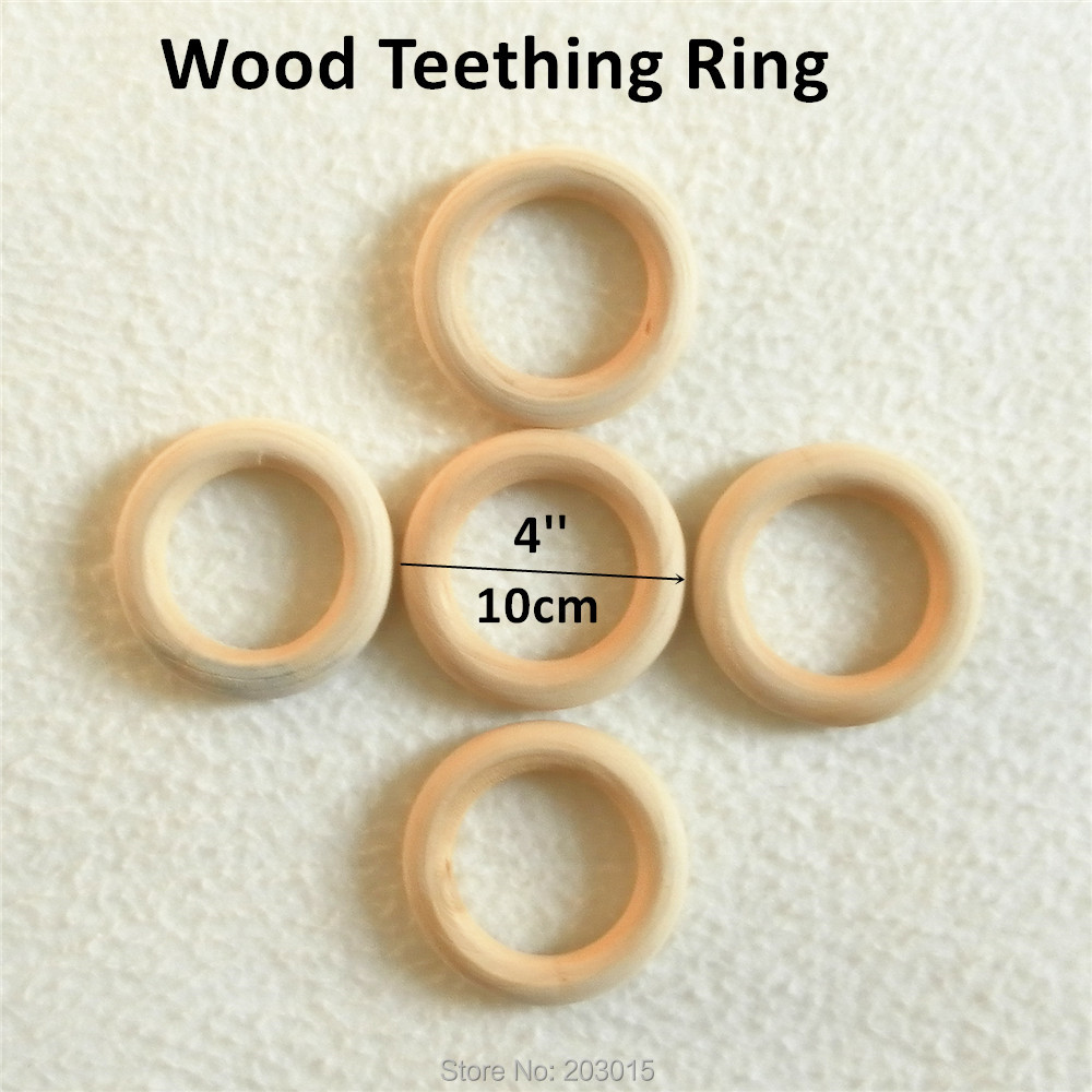 10pcs 10cm 4 Nature Wood Teething Beads Wooden infant Teethers Ring for baby pacifier chewing chain jewelry 100mm 4 inch
