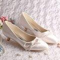 Hot Selling 2016 Custom Heel Women Pumps Ivory Satin Wedding Shoes Big Size 10 Free