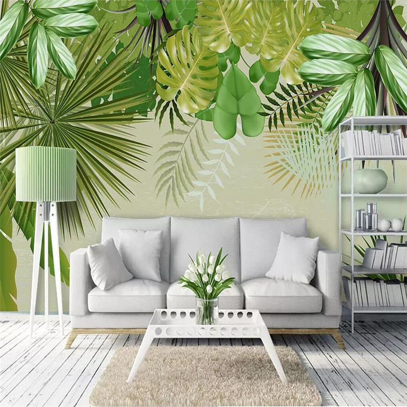 Fresh rainforest plant banana leaf green leaf background professional production mural custom photo wallpaper in Fabric Textile Wallcoverings from Home Improvement