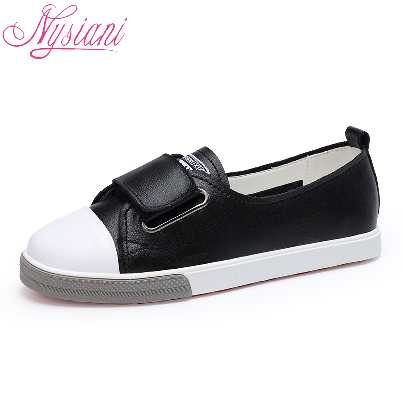 Leather Casual Shoes For Women Flats Solid Casual 2018 Autumn Round Toe Split Leather Hook & Loop Women Boat Shoes Nysiani beffery 2018 spring patent leather shoes women flats round toe casual shoes vintage british style flats platform shoes for women