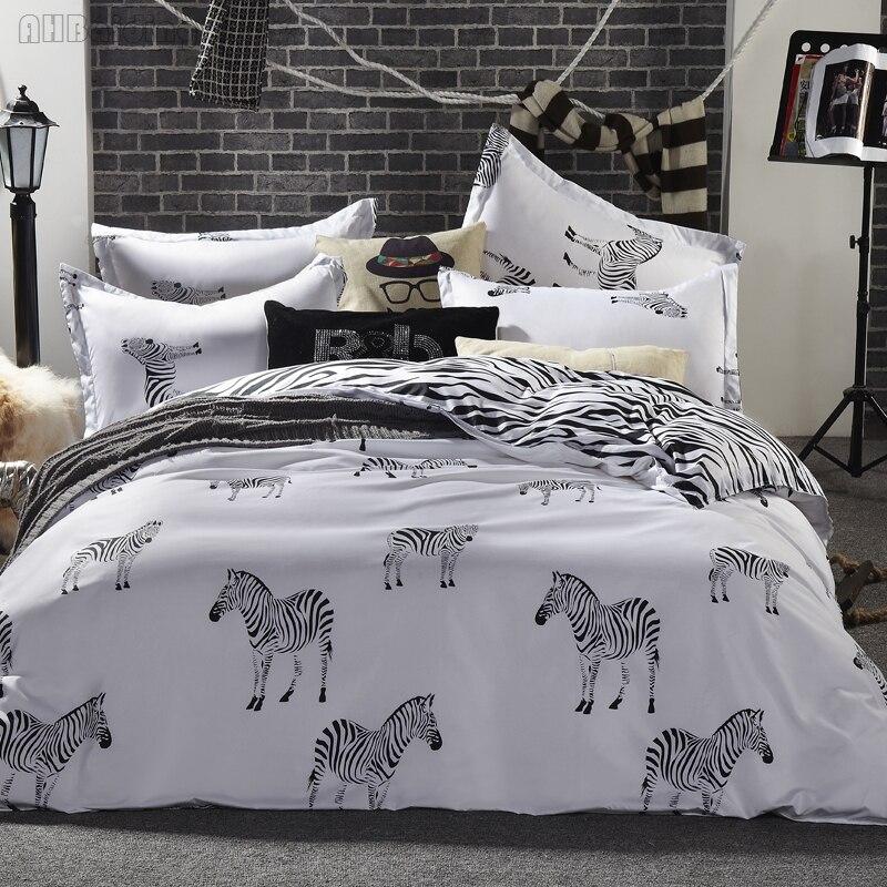 New Design Plain Stripes Zebra Printing Bedding Set Cartoon Cotton Children Bed Linen Duvet Cover Set with Flat Sheet Pillowcase