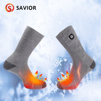 Savior 7.4V gray heating socks winter warm heating socks cotton soft washable UK, USA, EU, AU plug selection fast heating 40 50c