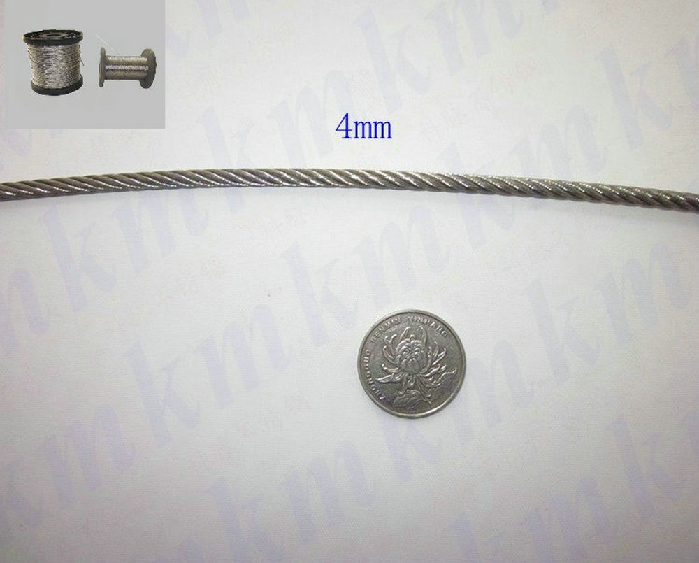 High Tensile And Anti Corrosion 316 Stainless Steel Wire Rope 7X19 Structure 4.0 MM Diameter
