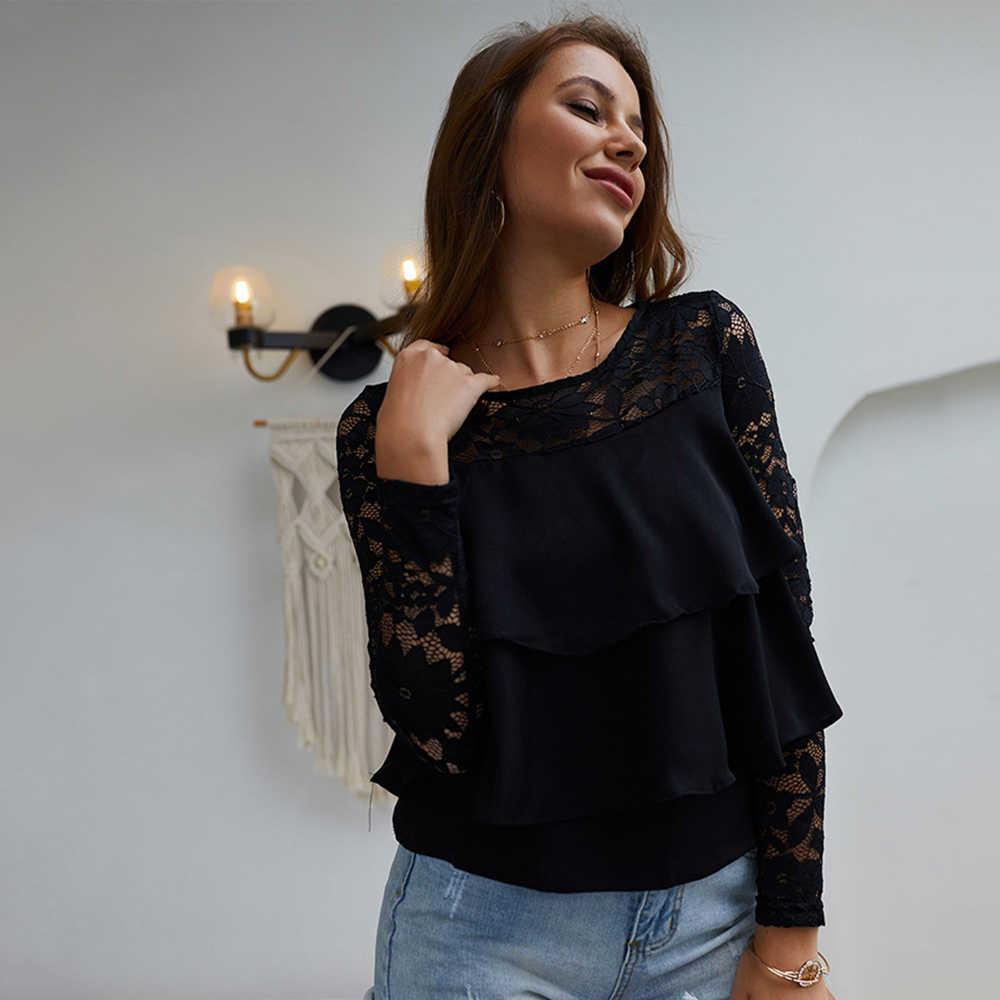 Черная кружевная рубашка женские топы для женщин блуза Коктейльная летняя круглый вырез вечерние с длинными рукавами офисные элегантные рубашки