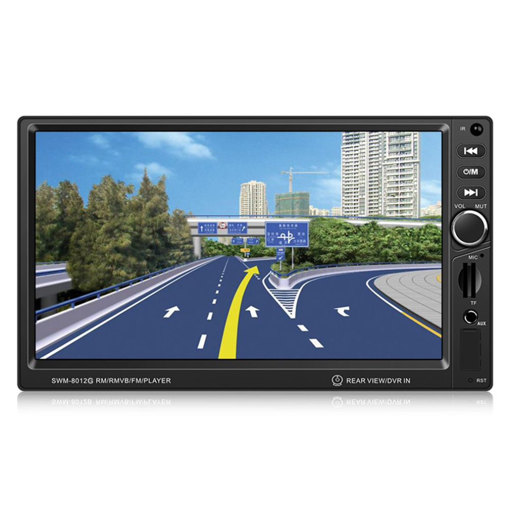 SWM-8012G 7-Inch Large Display Screen GPS Navigation Car DVD Brake Prompt Vehicle Music Player Support Bluetooth Mini TF Card swm