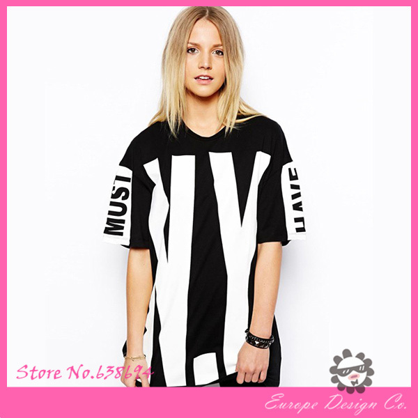 Wholesale Fashion Women Hip Hop Brand T Shirt Letter Print