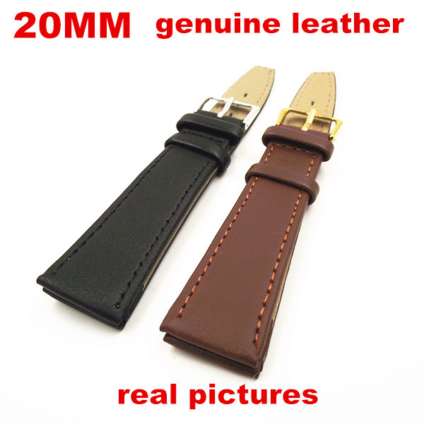 New arrived High quality 50PCS lot 20mm genuine leather watch band watch strap watch parts black