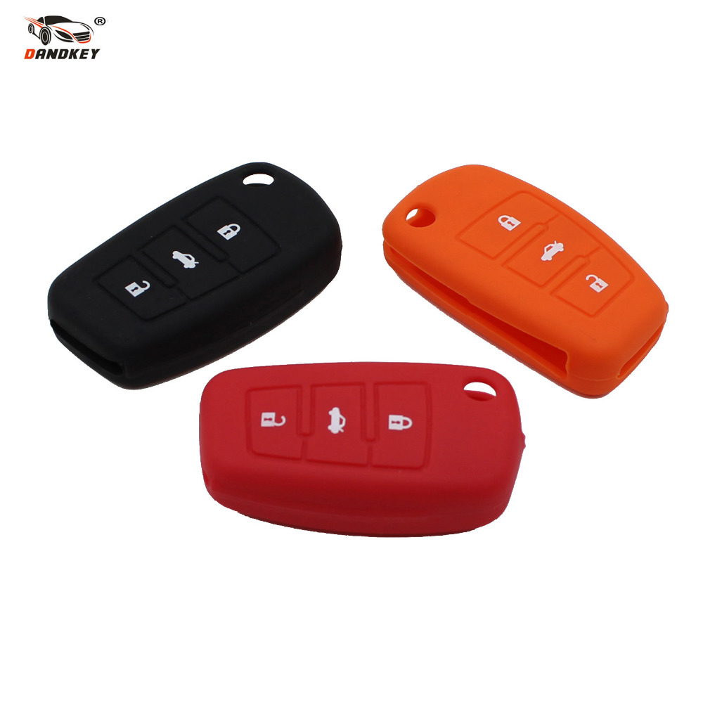 DANDKEY Key-Bag Silicone 3-Buttons Audi For A3 A4 A5 A6 A8 Q5 S6 Flip-Foldig