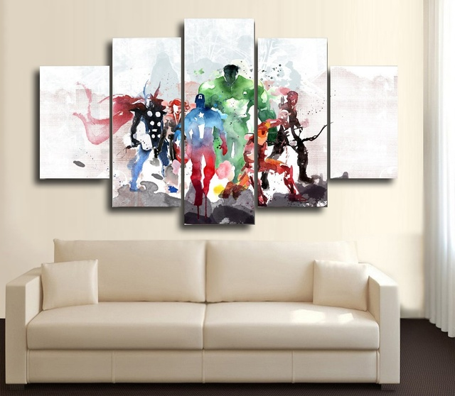 5 panel HD printed goup painting watercolor avengers canvas print ...