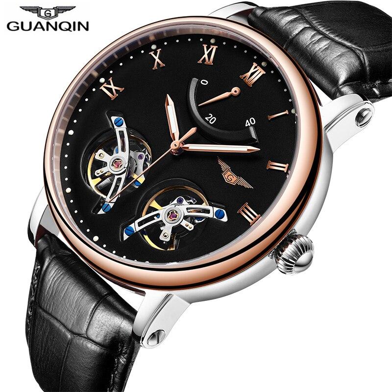 100% QualitäT Doppel Tourbillon Uhren Luxus Automatische Uhr Männer Lederband Energie Display Sapphire Wasserdichte Leucht Sport Uhren Männer Krankheiten Zu Verhindern Und Zu Heilen