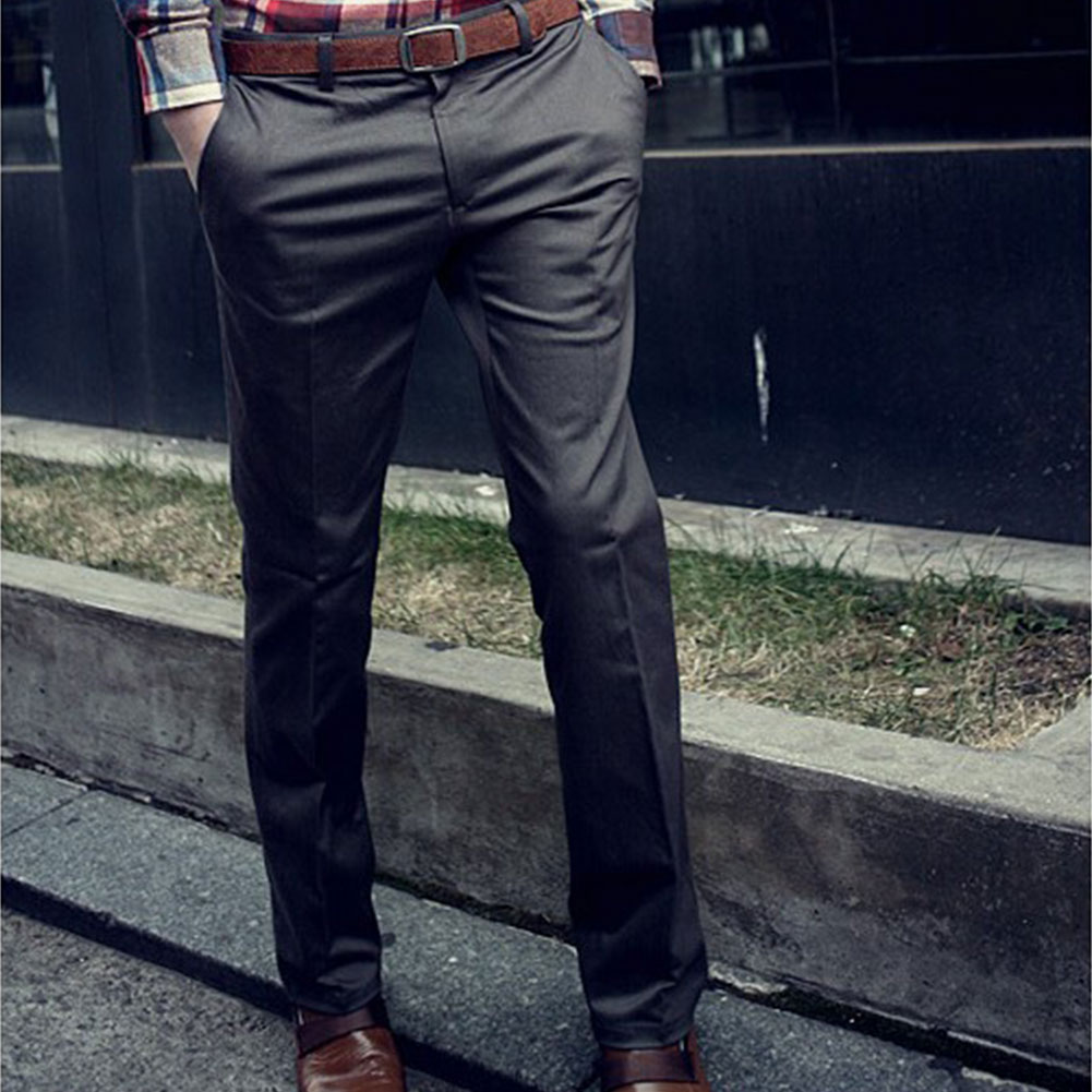 Pants Trousers Slacks Slim-Fit Mens Casual Front Stylish Flat Fashion Korean New-Arrival