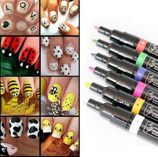 2015 wonderful 1pc lady nail art pen painting design drawing tool 2015 wonderful 1pc lady nail art pen painting design drawing tool 9 colours for option nail prinsesfo Gallery