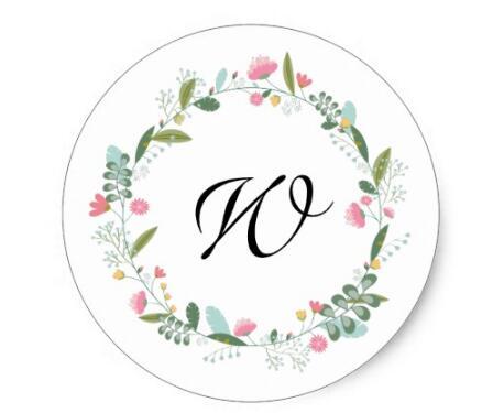 Купить с кэшбэком 1.5inch Retro vintage monogram Floral wreath stickers