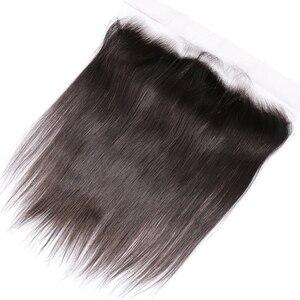 Пряди волос прямые кружевные фронтальные волосы с детскими волосами 13x4 ухо к уху предварительно сорванные 100% Remy бразильские волосы