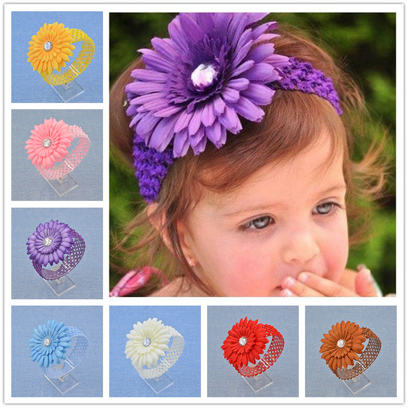 NEW headwear Floral Headband  big Sunflower Flower iamond Hairband Hair Weave Band kids  Accessories Gifts  Stock 1 pcs lot women crystal beads hairband awaytr new black side flower hair band headband for girls 2017 korean style headwear