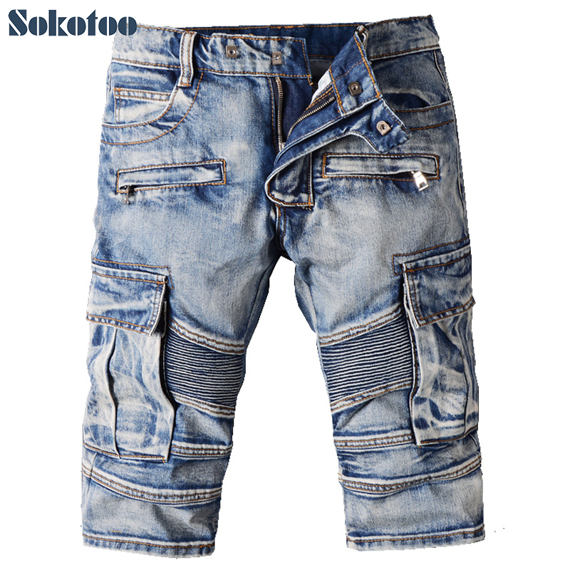 ФОТО Sokotoo Men's casual vintage blue pockets biker jeans Summer knee length denim shorts