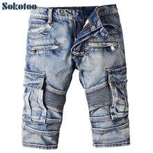 Sokotoo Men's casual vintage blue pockets biker jeans Summer knee length denim shorts