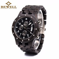 BEWELL Multifunction Mens Watches Top Brand Luxury Wooden Wristwatch With Date Display Sport Stopwatch Relogio Masculino