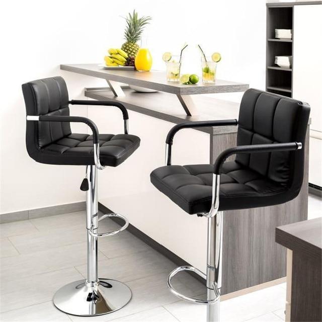 2 Pcs Swivel Barhocker Moderne Höhe Einstellbar Stuhl Barhocker Bar Stühle mit Fußstütze Barhocker mit Armlehnen HWC