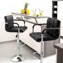 2 pcs 회전 바 의자 현대 높이 조정 가능한 의자 바 의자 바 의자 팔걸이 hwc와 발판 barstool