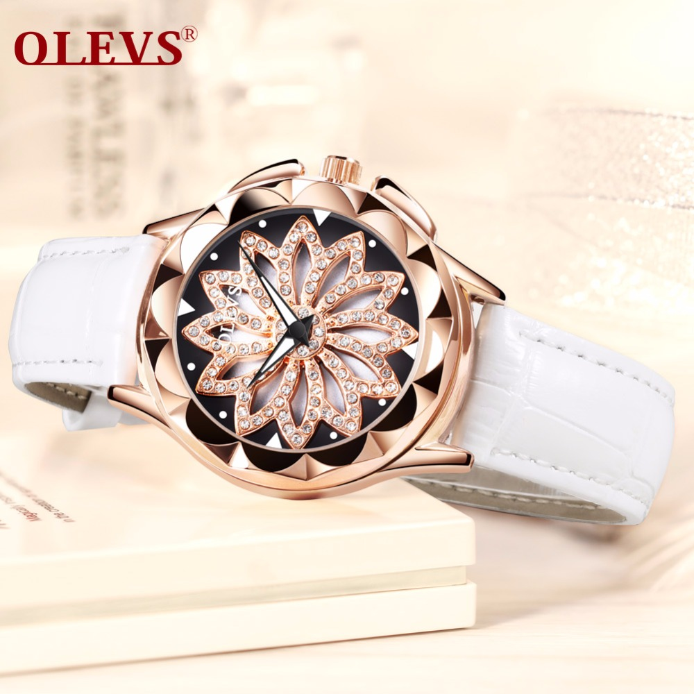 OLEVS Luxury brand Ladies watch women Fashion rhinestone creative 360 degree rotating dial Rose gold Leather waterproof Clock