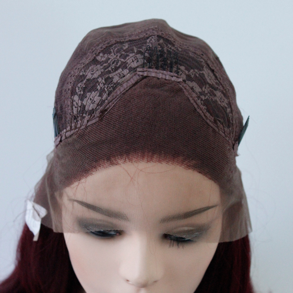 VNICE Synthetic Hair Lace Front Wigs Bob Straight Burgundy Full Head Wig Heat Resistant Fiber Wig for Women Free Part Bobo