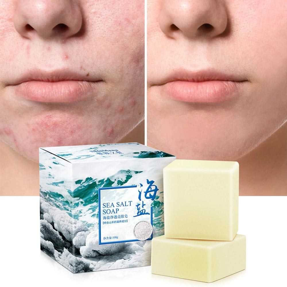 100g Handmade Sea Salt Soap Cleaner Removal Pimple Pores Acne Treatment Goat Milk Moisturizing Whitening Face Care Wash Soap