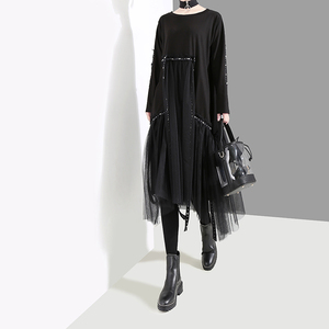 Image 2 - New Plus Size 2020 Korean Style Women Autumn Winter Black Loose Dress Long Sleeve Mesh Overlay Lady Casual Midi Dress Robe 4564