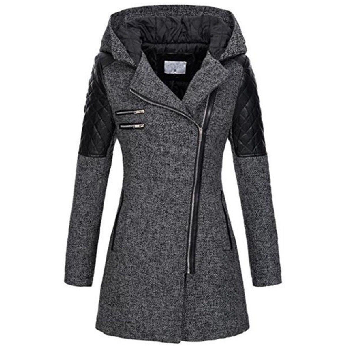 Kinikiss 2019 femmes manteau Zipper automne pull à capuche noir Patchwork manches longues chaud contraste couleur veste hiver manteaux & vestes