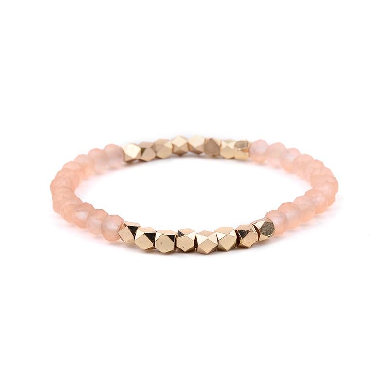 BOJIU многоцветные Кристальные браслеты для женщин золотые акриловые медные бусины розовый белый черный серый женский браслет с кристаллами BC226 - Окраска металла: 13-Orange