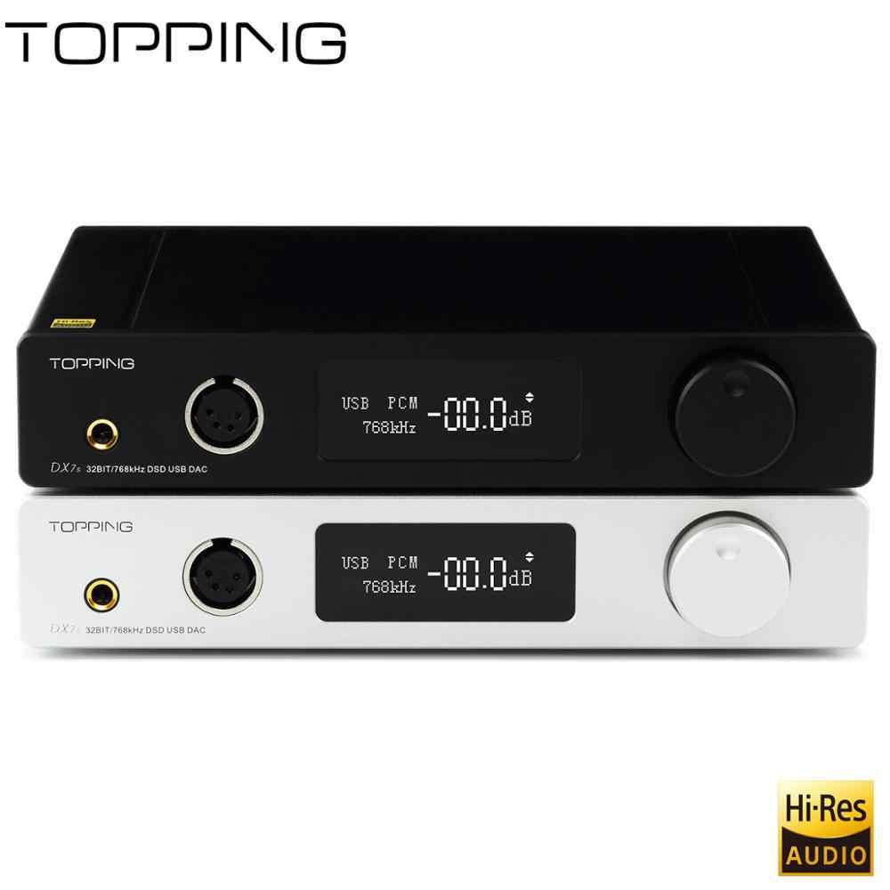 Topping DX7s Benchtop Sepenuhnya Seimbang Decoder dan Headphone Amplifier Xmos XU208 + ES9038Q2M + OPA1612, DSD512 USB DAC Amp