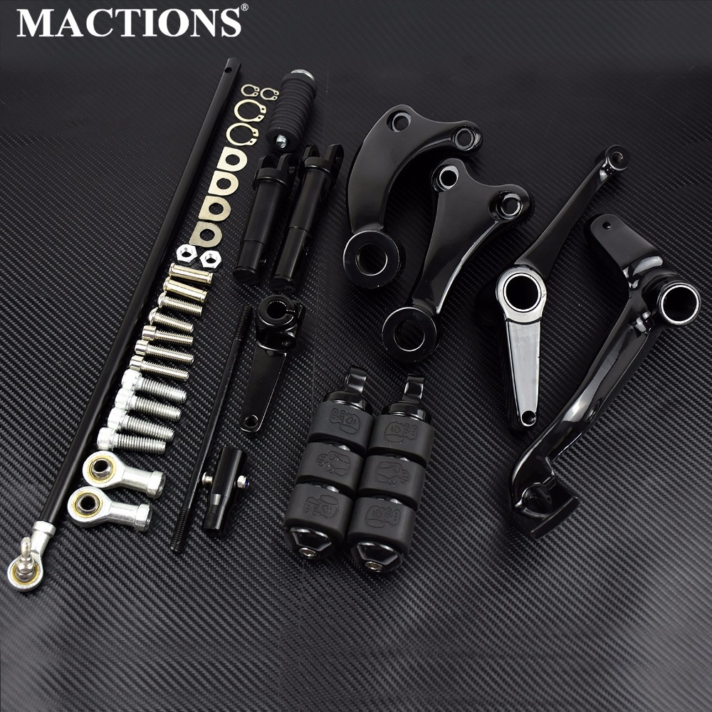 Black Forward Controls Complete Kit Pegs & Levers & Linkages For Harley Sportster XL 883 1200 04-07 08 2009 2010 2011 2012 2013