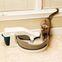 Автоматические кошки песочница котенок Электрический подстилка полу закрытый лоток Туалет роторная тренировочная Съемная подстилка аксе