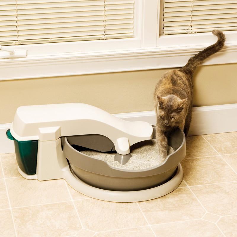 Automatic Cats Sandbox Kitten Electric Litter Box Semi-closed Tray Toilet Rotary Training Detachable Bedpan Pets Accessories